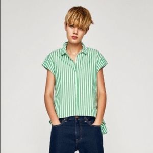 ZARA Asymmetric Hi Low Striped Top